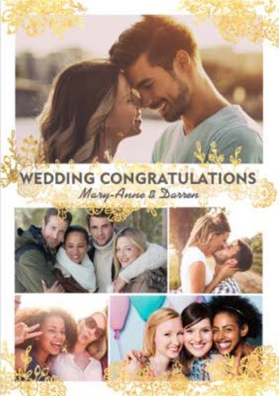 Wedding Card - Wedding Congratulations - Gold Foiled Flowers - Photo Upload