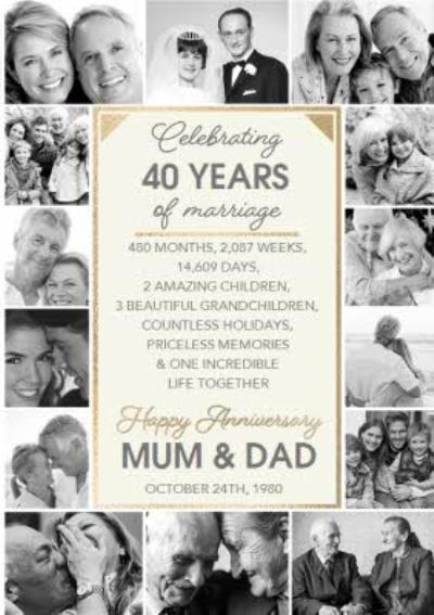 Mum And Dad Celebrating 40 Years Of Marriage Anniversary Multiple Photo Upload Card