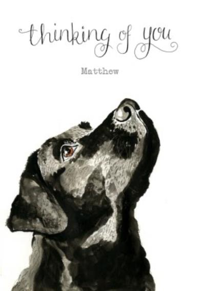 Illustrated Black Labrador Personalised Thinking Of You Card