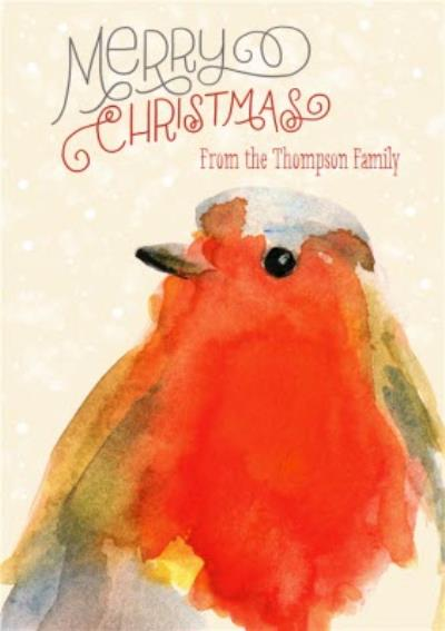 Watercolour Bird Merry Christmas From The Family Card