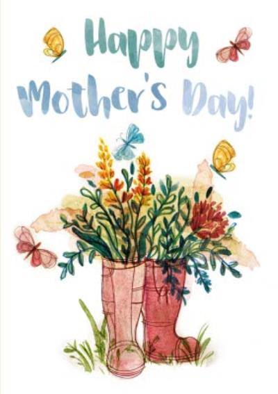 Mother's Day Card - Watercolour Painting - Wellington Boots - Flowers
