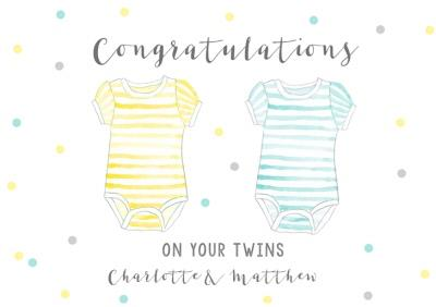Gender neutral new baby twins card