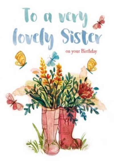 Sister Traditional Birthday card - flowers - gardening