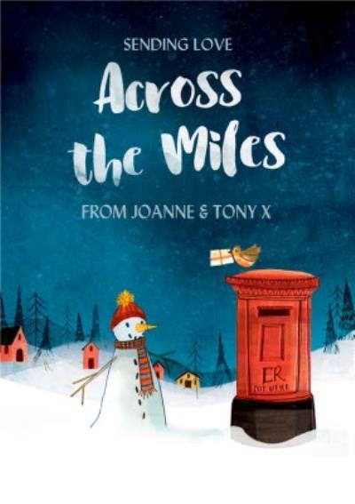Across The Miles Snowman and Robin Christmas Card