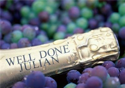 Grapes And Personalised Champagne Well Done Card