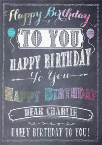 Personalised Chalk Birthday Card