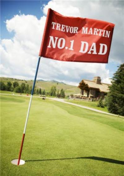 On The Golf Range Number One Dad Personalised Card