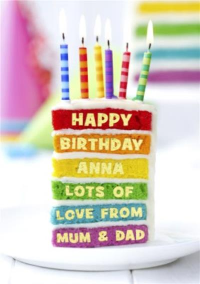 Personalised Rainbow Birthday Cake Card
