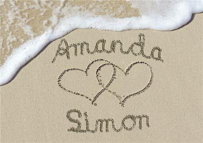 Anniversary Card - Names Written In The Sand
