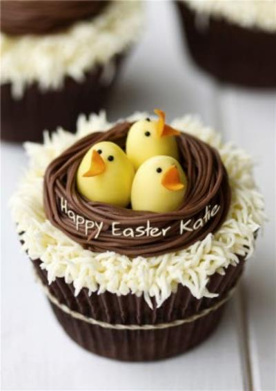 Spring Chicks Cupcake Personalised Happy Easter Card