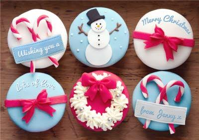 Festive Cupcakes Personalised Merry Christmas Card