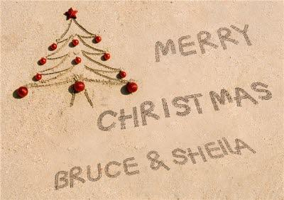 Message Written In The Sand With Tree Personalised Merry Christmas Card
