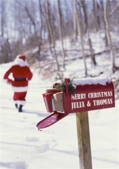 Santa And The Mailbox Personalised Happy Christmas Card