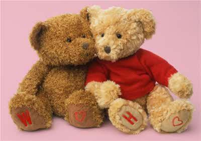 Teddy Bear Couple With Personalised Initials Valentine's Day Card