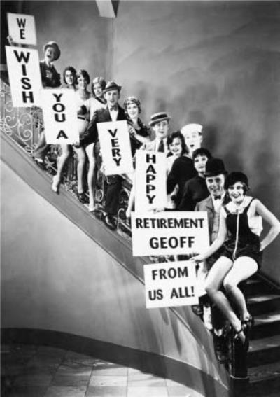 A black and white photo of people standing on a staircase holding banners with your message