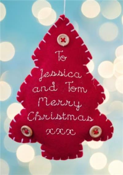 Felt Tree Ornament Personalised Christmas Card