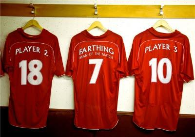 Red Football Shirts In A Changing Room Personalised Happy Birthday Card