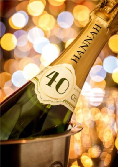 40th Birthday Card - Champagne