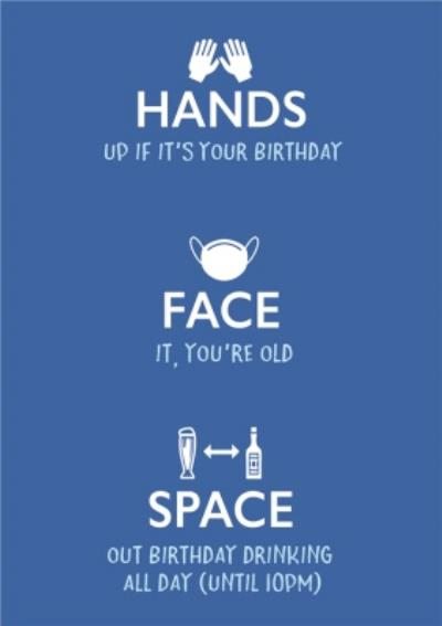 Typographic Covid Lockdown Rules Hands Face Space Birthday Card