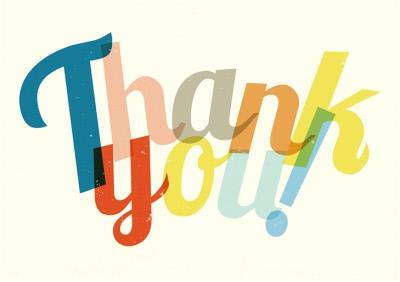 Multi Coloured Letters Thank You Card