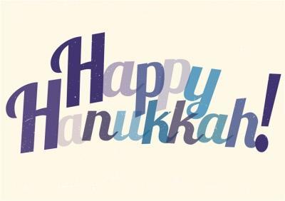 Purple And Blue Letters Personalised Happy Hanukkah Card