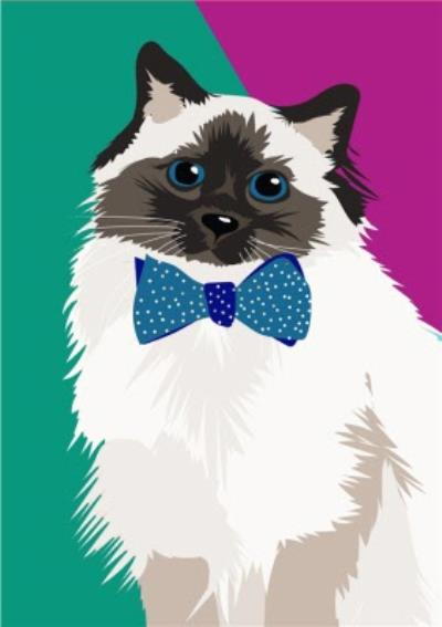Illustrated Bow Tie Fluffy Card