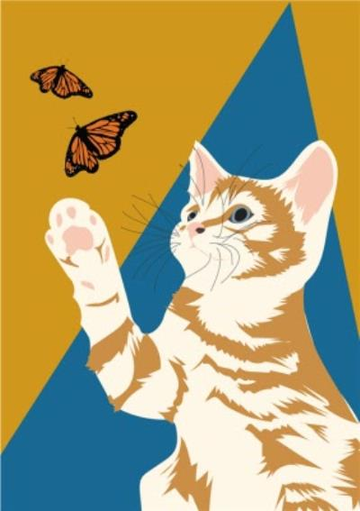 Illustrated Butterfly Ginger Kitten Card