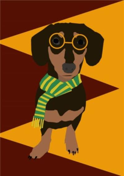 Illustrated Scarf And Glasses Dachshund Card