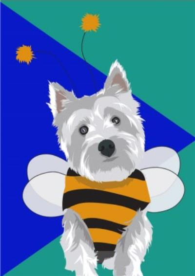 Illustrated Bee Outfit Yorkshire Terrier Card
