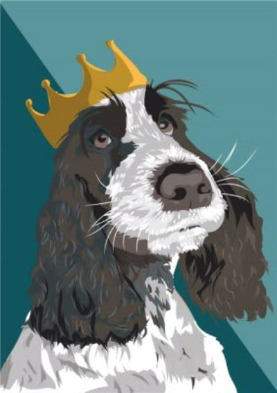 Illustrated Crown Royalty Chocolate Spaniel Dog Card