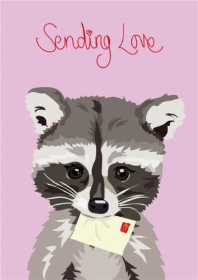 Illustrated Racoon Sending Love Card