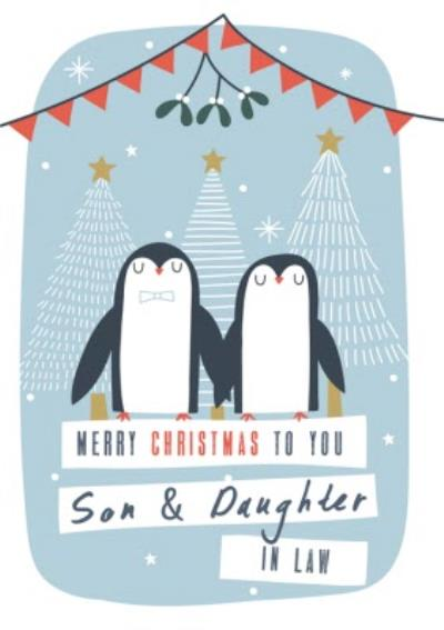 Son And Daughter In Law Pair Of Penguins Personalised Christmas Card