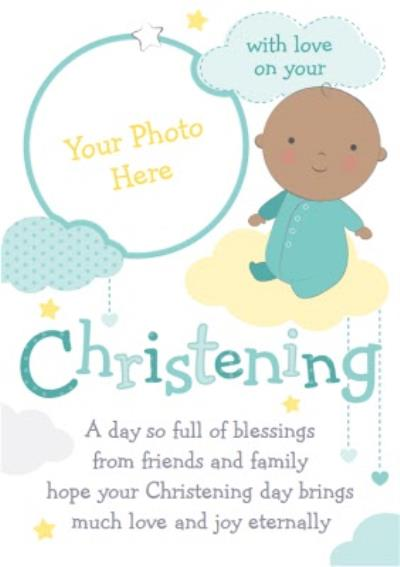 Baby In The Clouds Personalised Photo Upload Christening Card