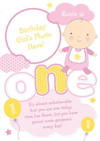 Yellow And Pink Clouds Personalised Photo Upload Baby's 1st Birthday Card