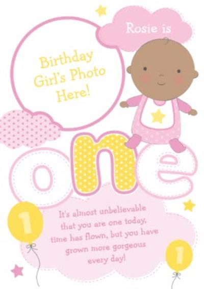 Yellow And Pink Clouds And Balloons Personalised Photo Upload Happy 1st Birthday Card