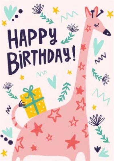 Cute Illustrated Giraffe Birthday Card