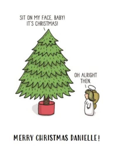 Sit On My Face Tree Topper Funny Christmas Card