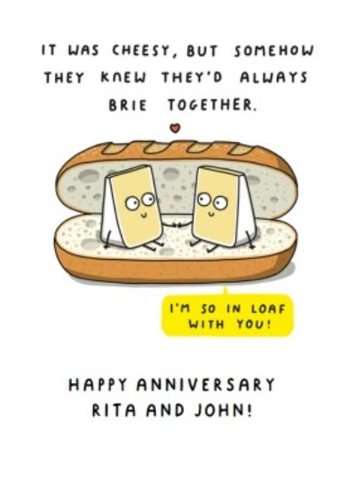 Mungo And Shoddy Cheesy Brie Together Funny Anniversary Card