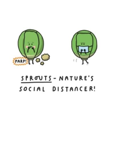 Mungo And Shoddy Sprouts Nature's Social Distancer Funny Christmas Card