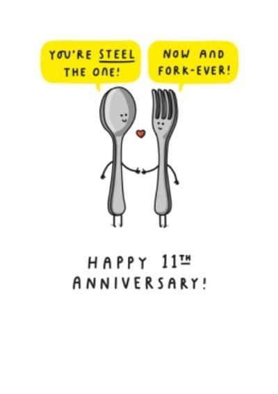 Fun Cartoon Steel Eleventh Anniversary Card