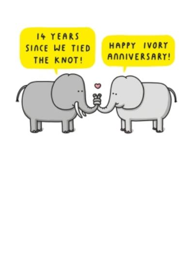 Pair Of Elephants Trunk's Tied Together Cartoon Illustration Fourteenth Anniversary Funny Pun Card
