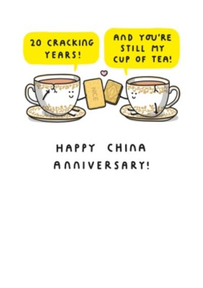 Two Tea Cups Toasting With Biscuits Cartoon Illustration Twentieth Anniversary Funny Pun Card