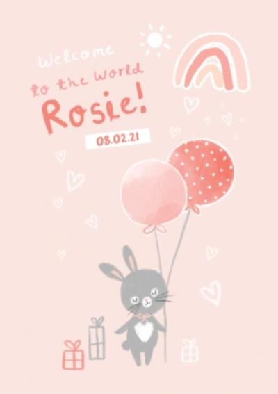 Cute Rabbit Welcome To The World New Baby Girl Card