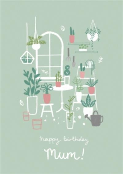 Illustrated House Plant Birthday Card
