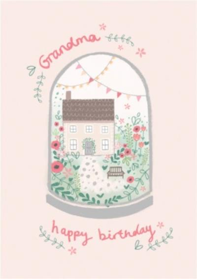 Illustrated Cottage And Flowers Birthday Card