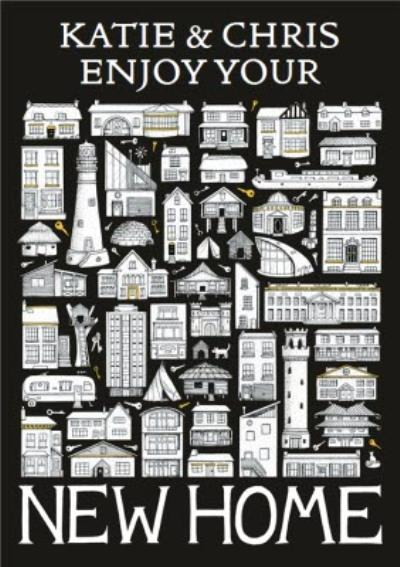 Black And White Houses Personalised New Home Card