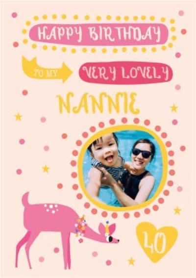 Happy Birthday To My Very Lovely Nanniie 40th Birthday Card