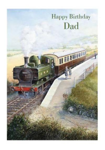 Traditional steam train painting for Dad on his Birthday Card