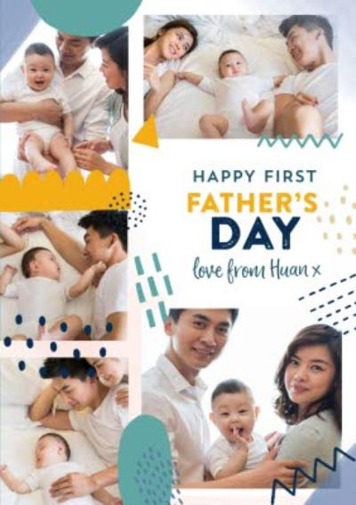 Happy First Father's Day Photo Upload Abstract Patterns Card