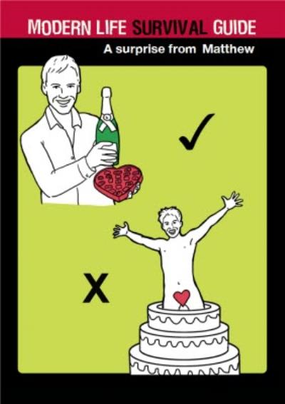 Personalised Modern Life Cheeky Surprise Survival Guide Card
